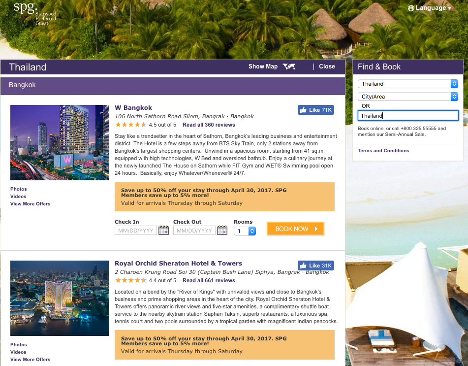 SPG properties across Thailand are up to 50% off
