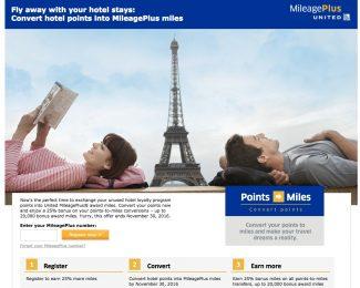 Convert hotel points into MileagePlus miles 25 bonus