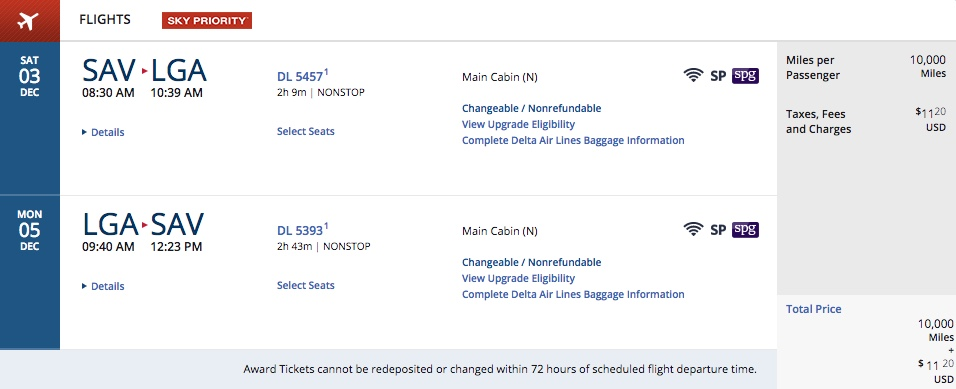 Delta Flash Sale SAV to LGA