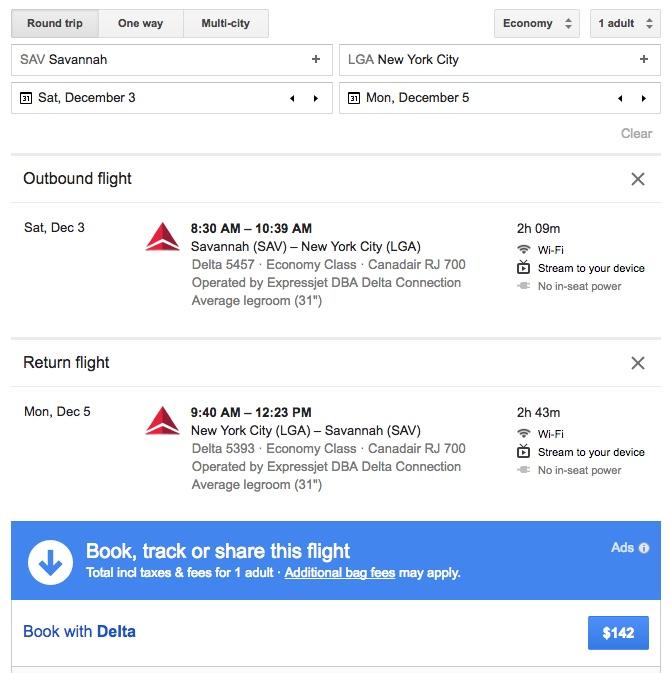 Delta Flights Cash Price - SAV to LGA