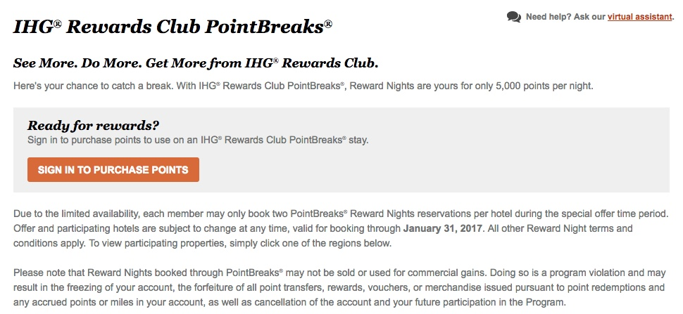 IHG PointBreaks November 2016 through January 2017
