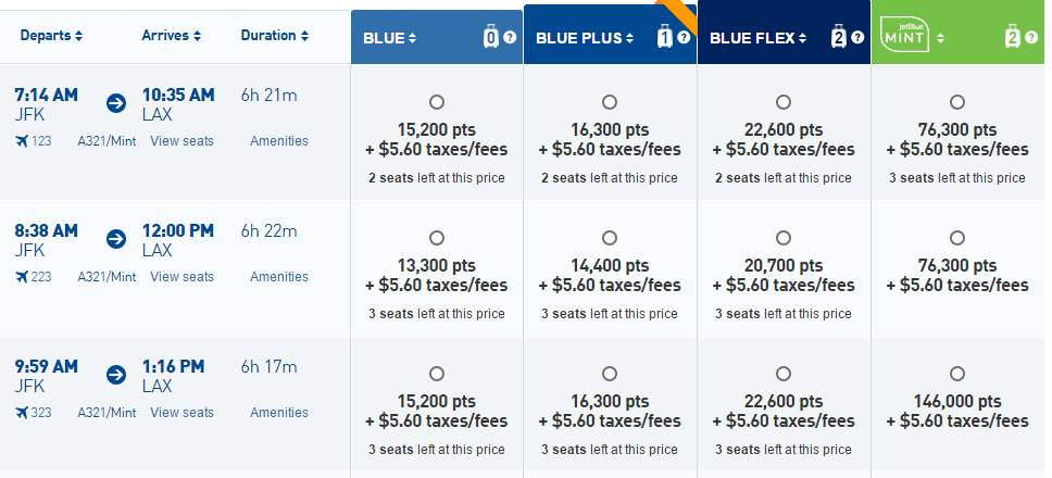 JetBlue JFK-LAX Award Options