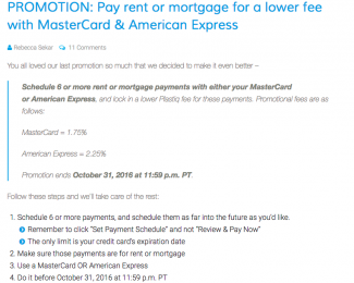 Pay rent or mortgage for a lower fee with MasterCard & American Express