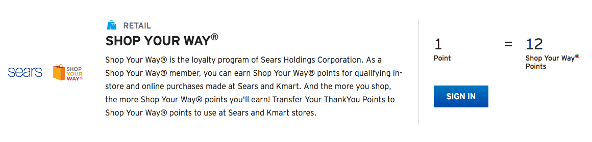 Citi adds Sears as a transfer partner