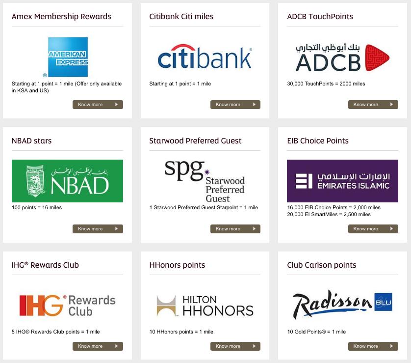 Etihad Guest Transfer Partners