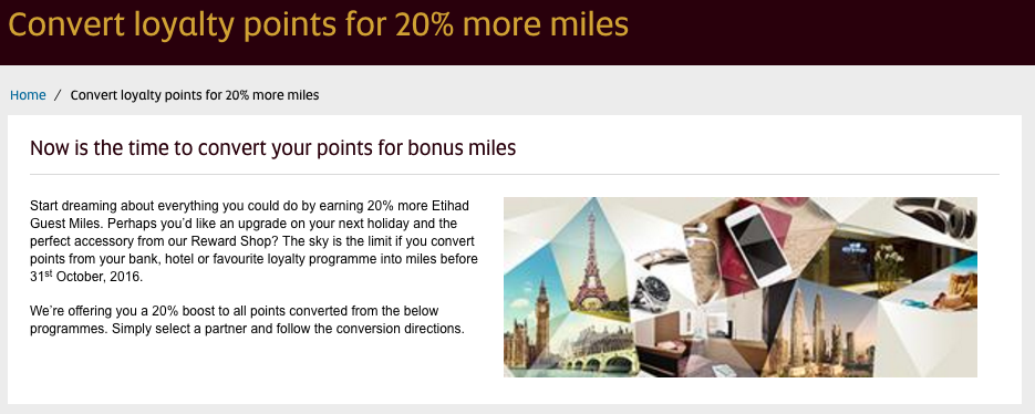 Receive a 20% bonus on points transfers to Etihad Guest in October 2016