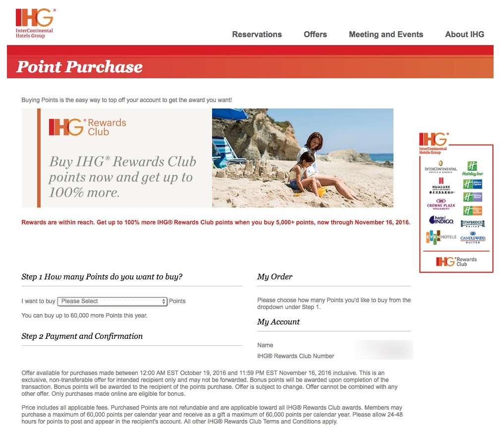 IHG Rewards Club 100 Percent Bonus October 2016
