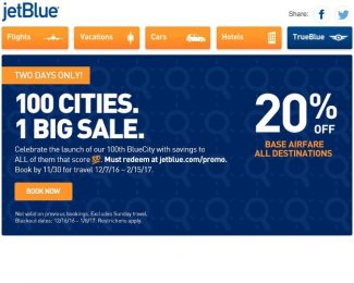 JetBlue 100 Cities Sale