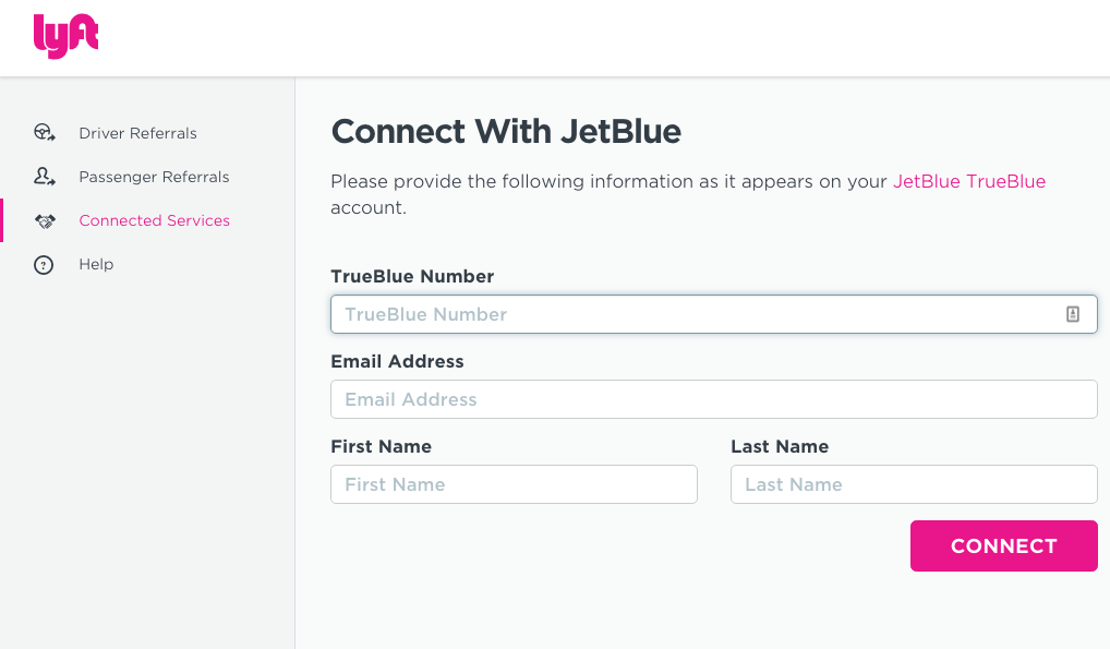 Lyft Connect With JetBlue