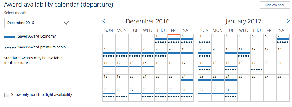 United Award Availability to Australia December 2016