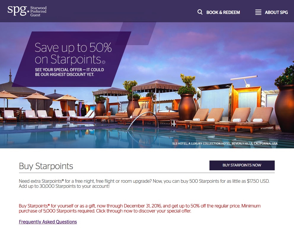 If you buy points with this promotion, that'd be just $46 for the weekend night at a Category 1 property. Experiences and Packages: You can also get good use out of Starpoints by redeeming them for SPG Moments or by transferring them to Marriott for Hotel + Air Packages.