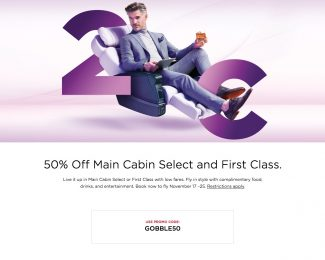 Virgin America 50 Off Main Cabin Select and First Class GOBBLE50