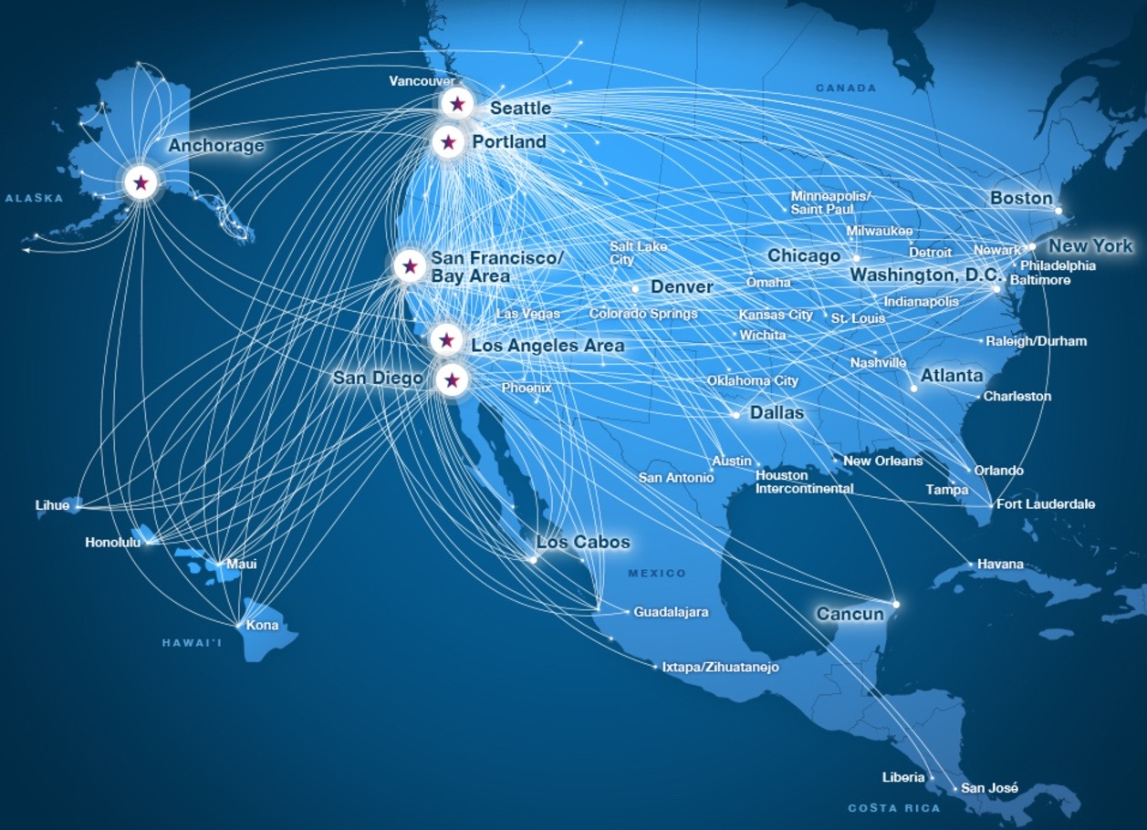Alaska and Virgin America Route Map
