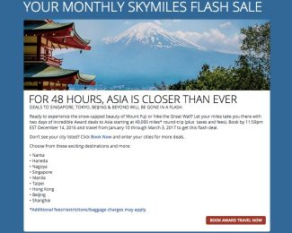 Delta SkyMiles Flash Sale December 14 2016