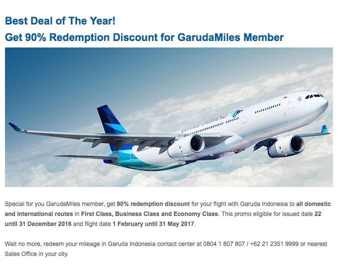 Amazing Redemption Offer With Garuda Indonesia 90 Off Awardwallet Blog