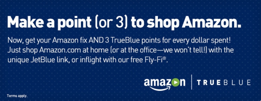 JetBlue 3 TrueBlue Points Shop With Amazon