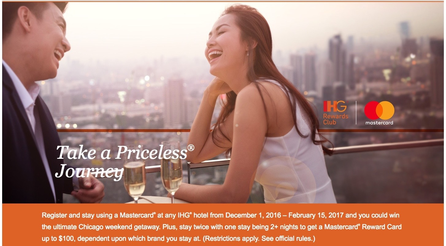 Priceless Experiences IHG 2016 Welcome Page