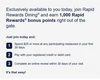 Rapid Rewards Dining 1000 Points Bonus