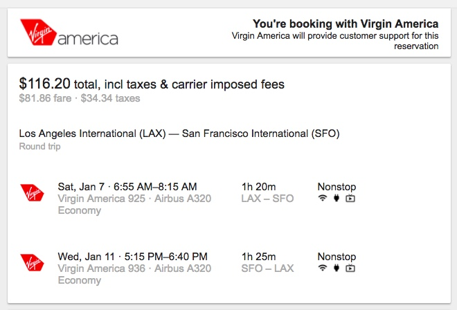 Virgin America Google Flights - Booking