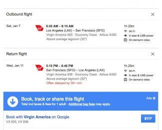 Virgin America Google Flights