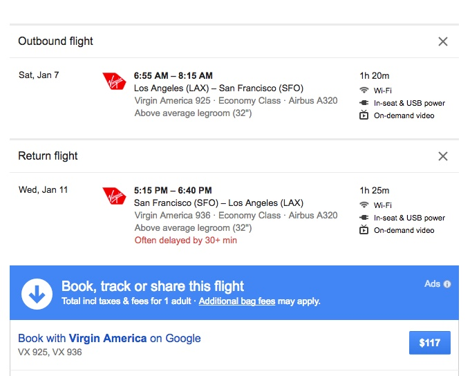 book virgin america flights directly with google flights. Black Bedroom Furniture Sets. Home Design Ideas