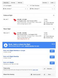 Virgin America Google Flights - Search Results
