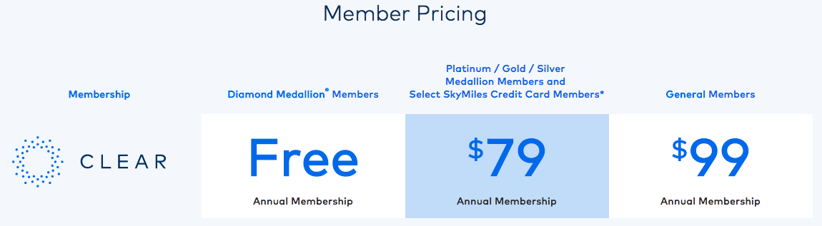 CLEAR Delta SkyMiles Member Pricing