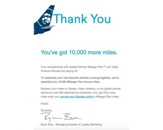 Alaska 10,000 Bonus Miles