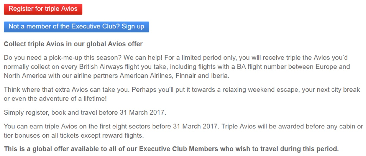 British Airways Avios 3x Promo Overview