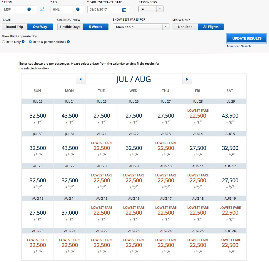 Delta MSP to HNL Award Availability August 2017