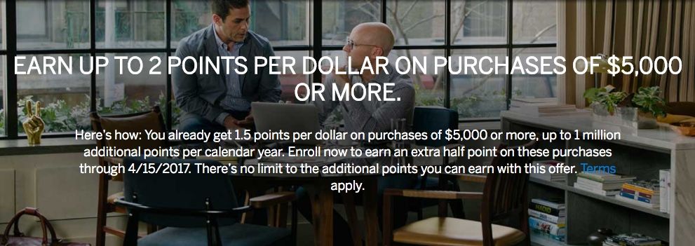 Earn 2x Points with Business Platinum Amex Large 5k Purchases
