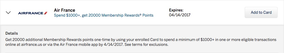 20000 Bonus Membership Rewards for 1000 Air France purchase