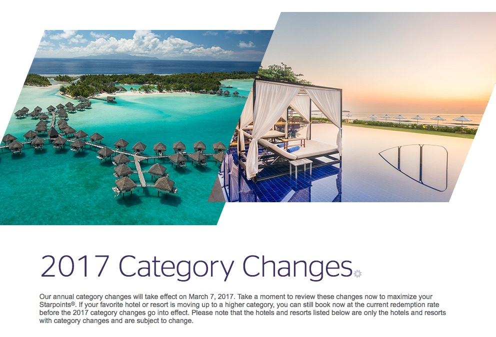 2017 SPG Category Changes