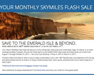 Delta SkyMiles March 2017 Flash Sale to Europe
