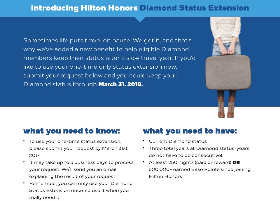 Hilton Honors Diamond status Extension Explanation