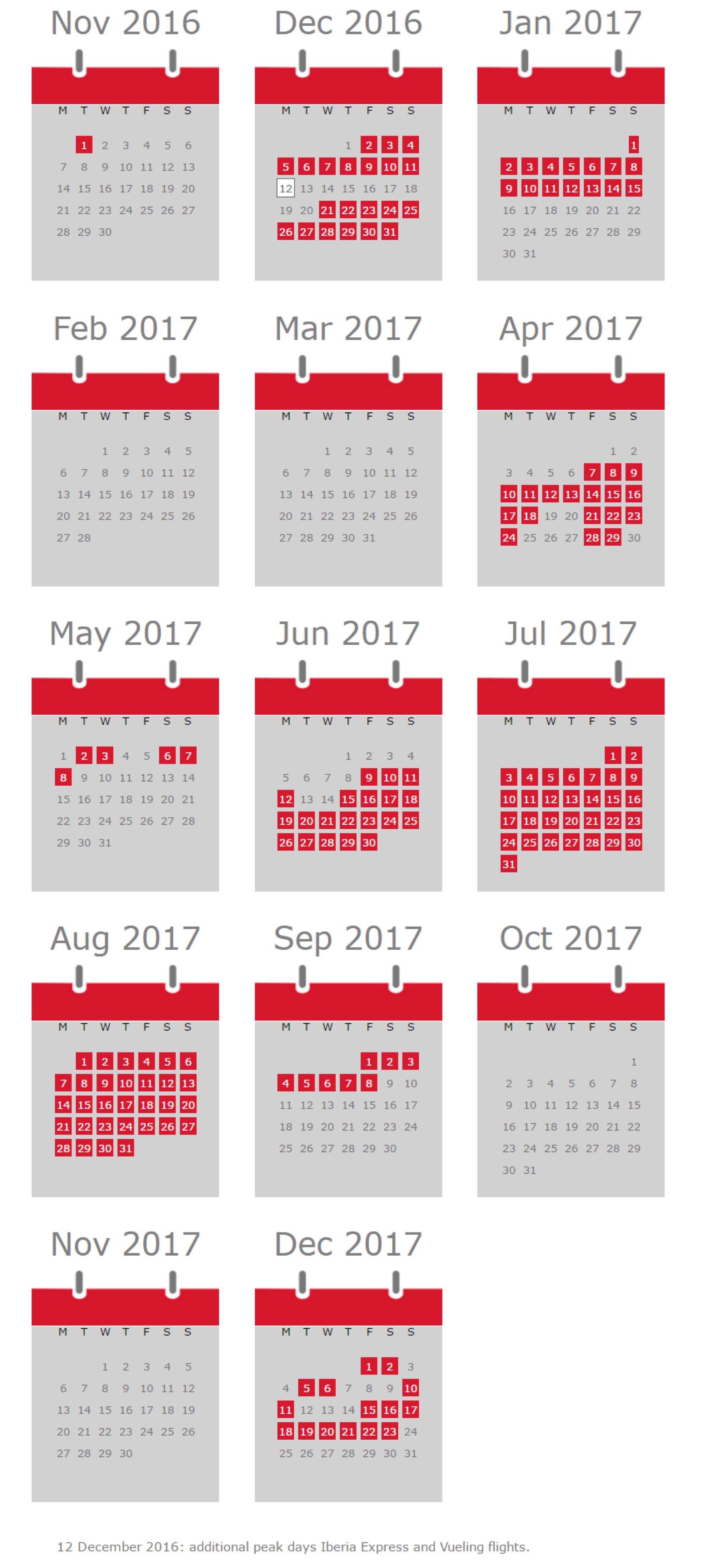 Iberia 25 Year Promotion - Calendar