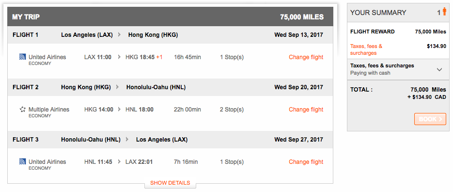 Booking multi-city Aeroplan awards with low fuel surcharges