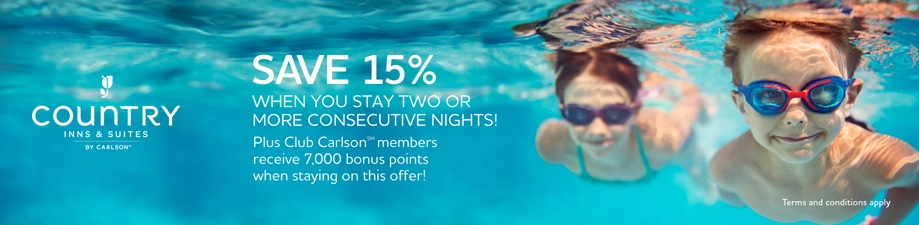 Club Carlson Country Inn and Suites 15 Percent Off