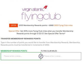 Membership Rewards 30 Percent Transfer Bonus to Virgin Atlantic