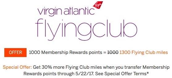 Membership Rewards 30 Percent Transfer Bonus to Virgin Atlantic Flying Club miles