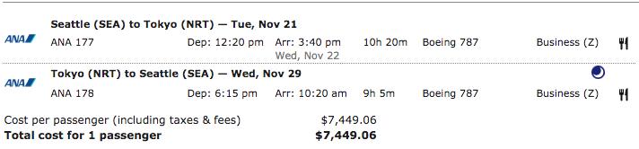 ANA-Business-Seattle-Tokyo-Cash-Fare
