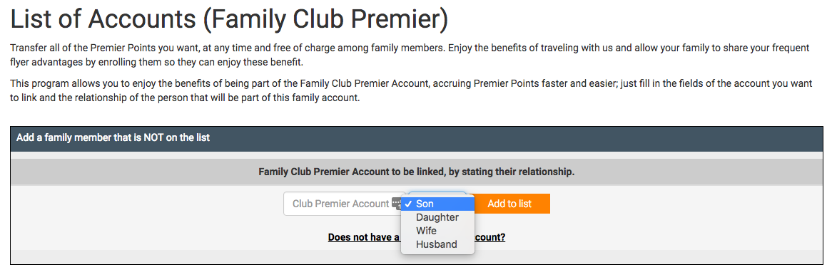 Club Premier Family Program