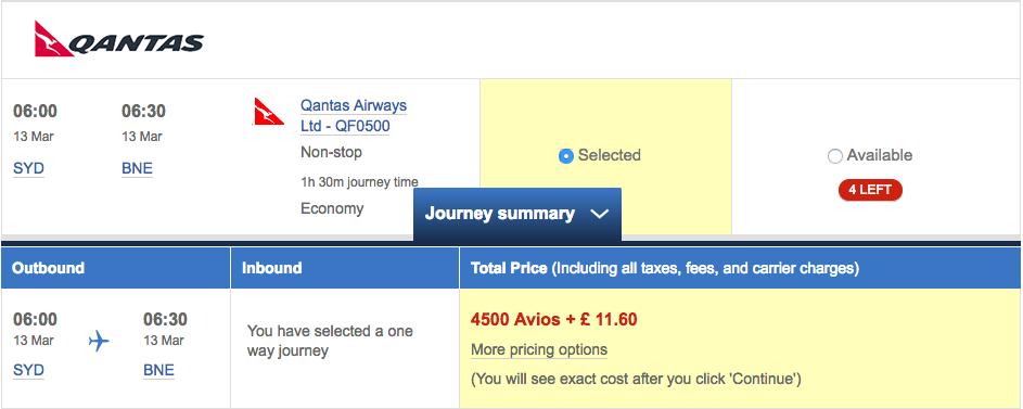 Qantas-Avios-BNE-SYD-Economy-Class