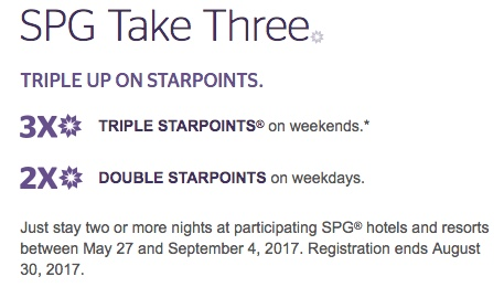 SPG Take Three Summer 2017 Promotion
