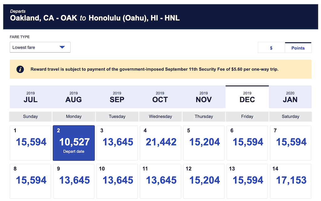 Southwest Rapid Rewards Oakland to Hawaii for 10,527 Points