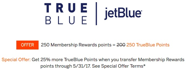 jetBlue TrueBlue 25 Bonus from Amex MR