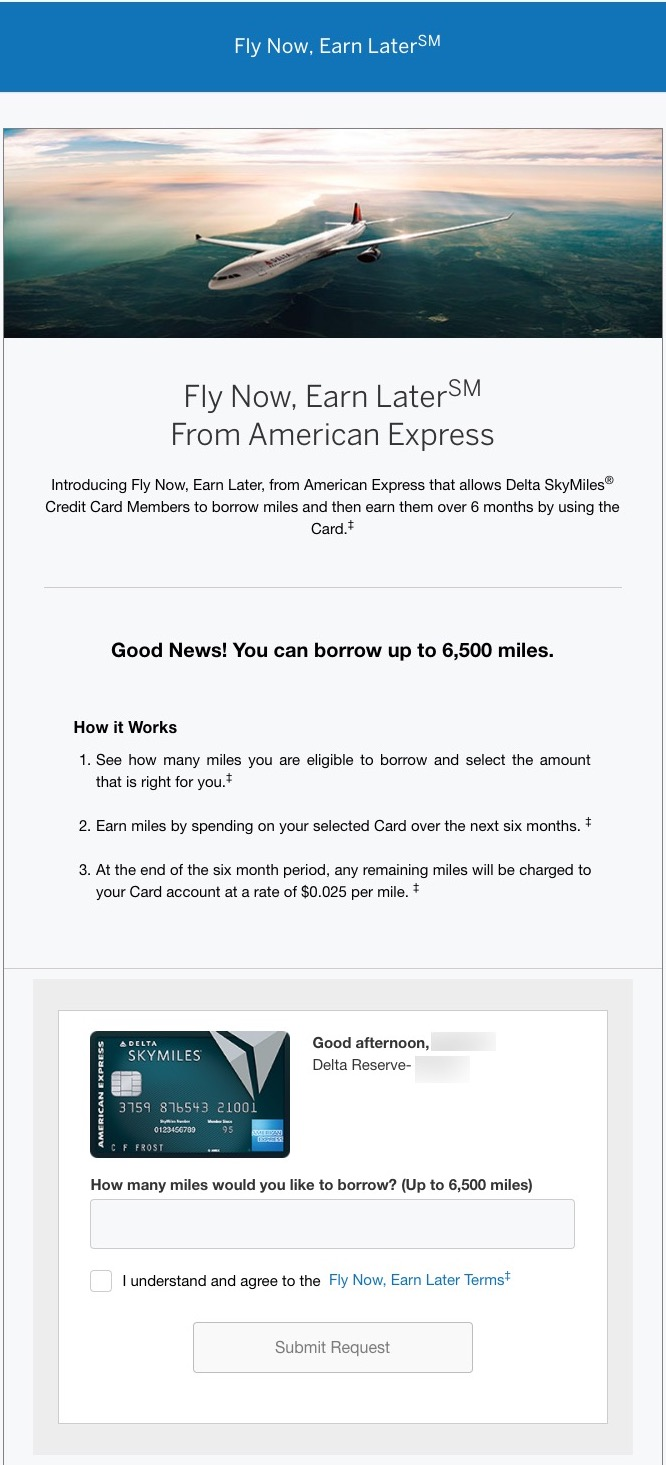 Fly now earn later borrow skymiles from american express for Book flight online and pay later