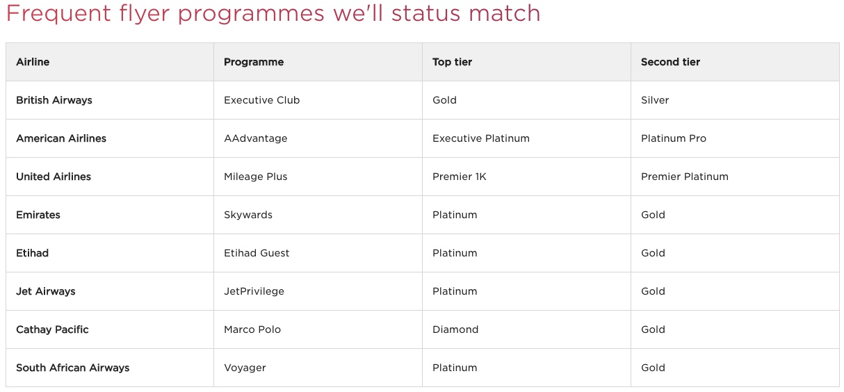 Virgin Atlantic Status Match - Matching Programs