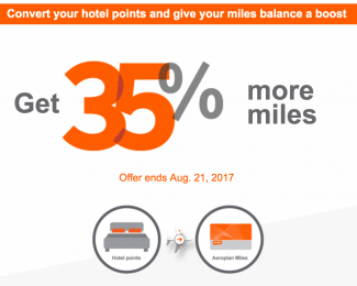 Aeroplan 35 Percent More Miles Promotion