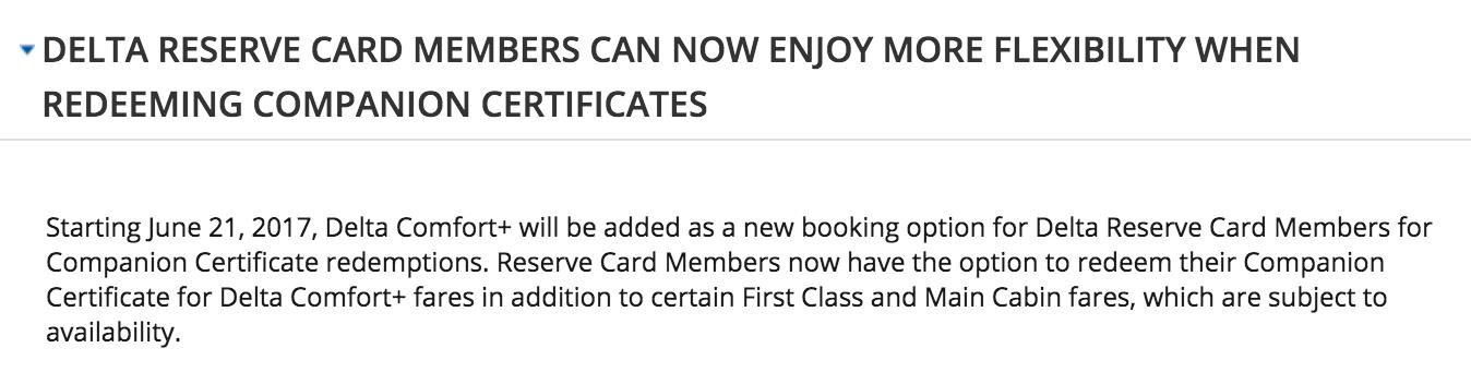 Delta Reserve Credit Card Companion Certificates Comfort+